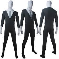 lycra halloween mask slender man tall man black suit bodysuit mask halloween costume
