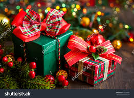 Decorative Christmas Gift Boxes Christmas Gift Boxes With Decorations Foto Stock 215593888