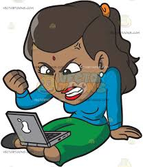 an indian woman getting angry while surfing the internet cartoon