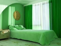 green accents tie in the wall color without making the color