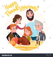 thanksgiving day family table vector stock vector