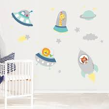 wall art stickers and decals notonthehighstreet com space buddies fabric wall stickers