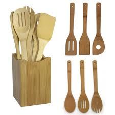 ustensiles de cuisine en bois nouveau 6 pièces bambou cuillère spatule cuisine ustensile de