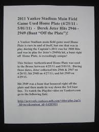 lot detail derek jeter 2011 hit u0027s 2946 2959 game used home