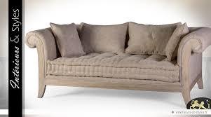canape de style canapé de style rétro en bois massif et habillage écru