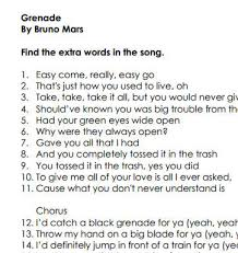 Lyrics To Count On Me Bruno Mars Worksheet Grenade By Bruno Mars 2nd Conditional Lesson Plan