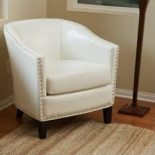 ivory chair trent home leather club barrel chair in ivory 228062cy