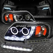 led strip lights headlights black dual halo projector drl headlight smoked led fog light for