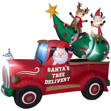 christmas tree delivery shop living 7 87 ft x 9 35 ft lighted santa s delivery truck