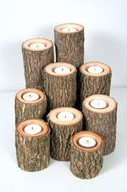 log candle holders candlestick yankee fire logs birch fireplace