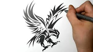 how to draw an eagle tribal tattoo design style youtube