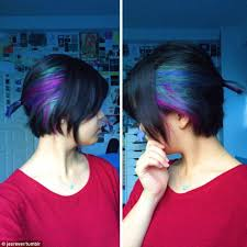 colorful short hair styles video of a woman revealing her secret rainbow hair takes the