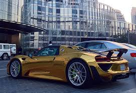 porsche chrome world s first chrome gold wrapped porsche 918 spyder spotted in