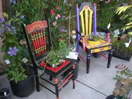 unique painted chairs for your garden outdoor wooden benches