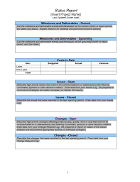 project management report template excel and weekly project status