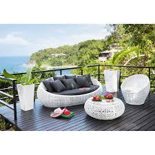 maison du monde coussin de sol divano bianco da giardino in resina intrecciata 3 posti durban