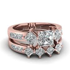 wedding bands sets 2 5 ct princess cut diamond kite set wedding ring sets in 14k