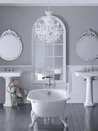 Gray Bathroom Designs Colors Grey Bathroom Luv The Chandelier Idea Bathrooms Pinterest