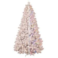 shop ge 7 5 ft pre lit pine flocked artificial christmas tree with