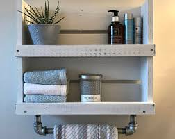 Wall Mounted Bathroom Shelves Shelf With Towel Bar Etsy