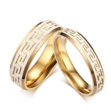 wedding ring gold color key pattern rings promise