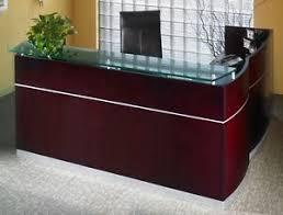 L Shaped Reception Desk Mayline Wood Veneer Napoli L Shape Reception Desk W Frosted Glass