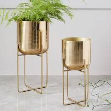 interior home accessories spun metal standing planter brass medium standing planter