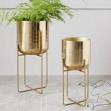 interior home accessories spun metal standing planter brass medium standing planter