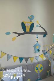 chambre hibou décoration chambre bébé chouette hibou arbre oiseau nichoir bleu