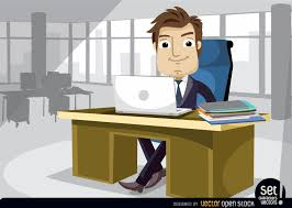 bureau clipart businessman working at the office with laptop vector