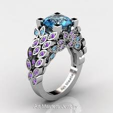 blue amethyst rings images Art masters nature inspired 14k white gold 3 0 ct blue topaz jpg