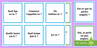 question and answer matching cards french ks2 french