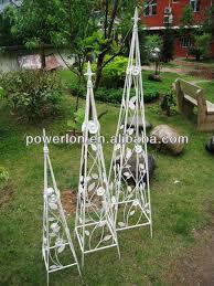 Obelisk Trellis Metal Set Of 3pcs Unique Decorative Metal Vine U0026leaf Obelisk Garden