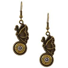 gun earrings lbg 2071 butterfly brsniprim black gun butterfly bullet