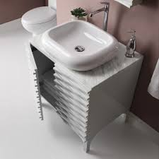 Modern Bathroom Vanity Sink by Decolav Sophia Modern Bathroom Vanity Includes Bianco Marble Top