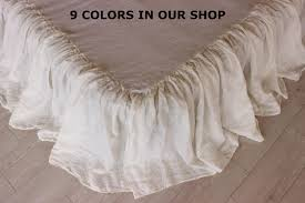 linen dust ruffle bedskirt 8 colors stone washed shabby chic