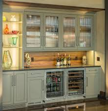 wine bar with wood backsplash olive cabinets clear view cabinets