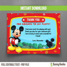 mickey mouse thank you cards disney mickey mouse clubhouse birthday thank you cards instant