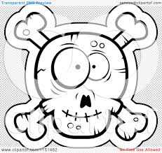 cartoon clipart of a black and white silly faced skull and