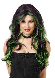 Purple Wig Halloween Costume Emerald Witch Wig Costumes