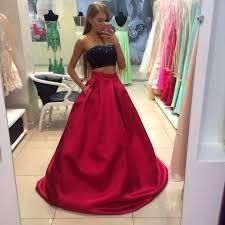 two piece prom dresses black red prom dresses a line prom gown