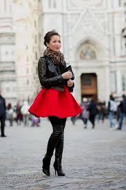 red dress black tights boots naf dresses