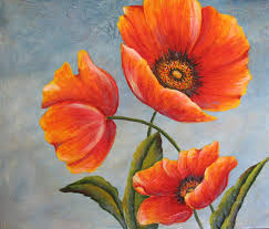 three poppies an original acrylic painting by dianetrierweiler