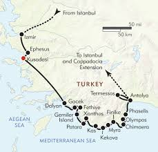 Turkey Mountain Map The Turquoise Coast Itinerary U0026 Map Wilderness Travel