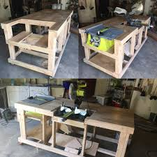 table saw workbench plans quick and easy mobile workstation with table saw and miter saw