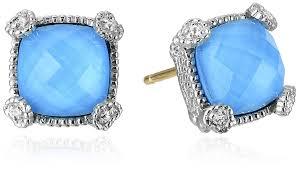 judith ripka earrings judith ripka linen blue cushion stud earrings