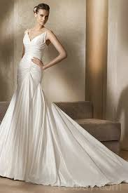 wholesale wedding dresses v neck ruched mermaid elastic satin cathedral vintage