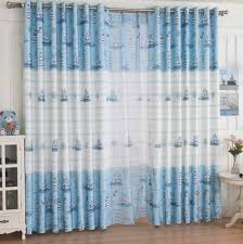 Baby Curtains Baby Blue And White Print Chenille And Cotton Nautical Curtains
