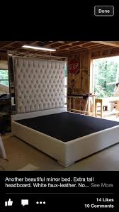 King Size Platform Bed With Headboard White Faux Leather King Size Bed Tufted Upholstered Bed Platform