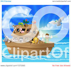 clipart of a christian bible story scene of noah on his ark with